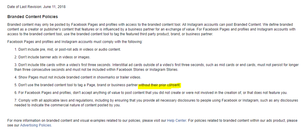 Facebook branded content policy screenshot - section 5