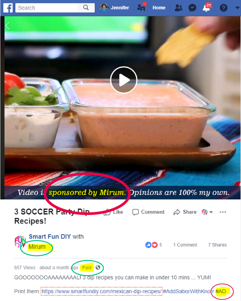 FTC compliant disclosure on sponsored post on Facebook