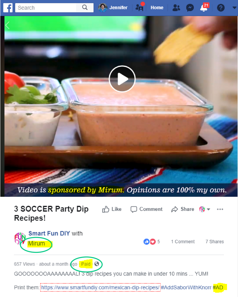 Facebook Branded Content Policy compliant disclosure on sponsored post on Facebook