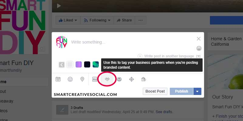 Screenshot of facebook branded content tool - handshake tool