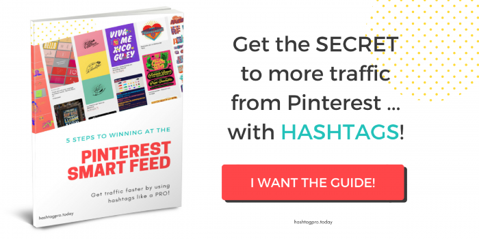 Button to get FREE GUIDE to hashtags on Pinterest