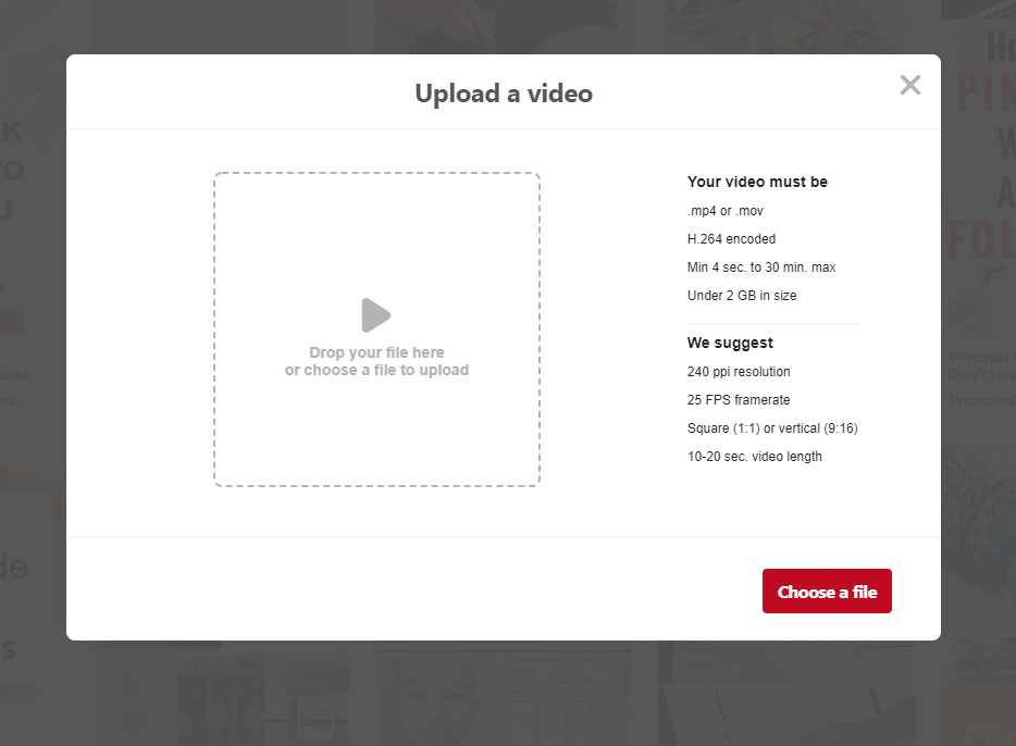 screenshot of how to upload video to Pinterest