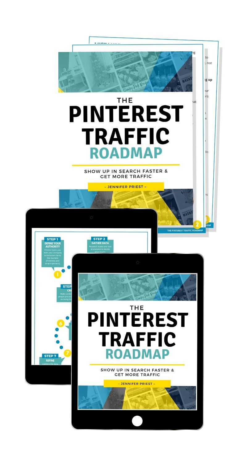 The Pinterest Traffic Roadmap on iPads and mocked up as printed pdf