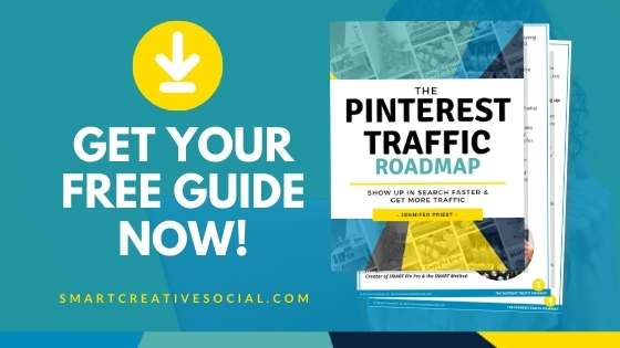 Graphic showing mockup of free Pinterest Traffic Roadmap Guide