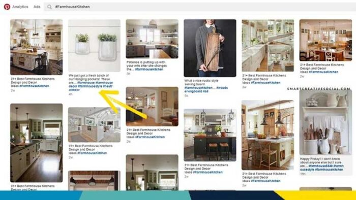 Screenshot of Pinterest search results feed with arrow pointing to hashtags displaying as clickable blue text below pins