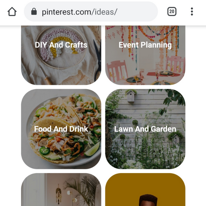 Screenshot of pinterest.com/ideas website showing tiled images with text overlay on each for subjects DIY And Crafts, Event Planning, Food And Drink, Lawn And Garden